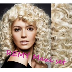 "Curly clip in maxi set 20"" (53cm) human hair - REMY 200g – platinum blonde"