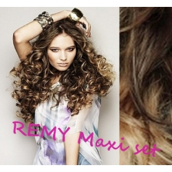 "Curly clip in maxi set 20"" (53cm) human hair - REMY 200g – dark brown / blonde"