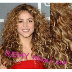 """Curly clip in maxi set 20"""" (53cm) human hair - REMY 200g – mixed blonde"""