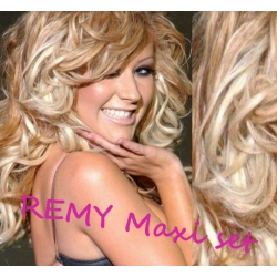 """Curly clip in maxi set 20"""" (53cm) human hair - REMY 200g – platinum / light brown"""