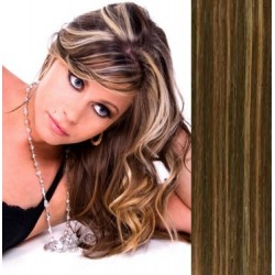 Clip in bang / fringe – REMY 100% human hair – dark brown / blonde
