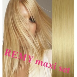 "Clip in maxi set 20"" (53cm) human hair - REMY 200g – light blonde"