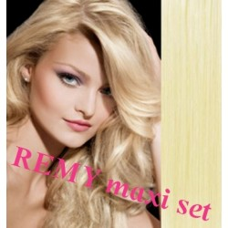 """Clip in maxi set 20"""" (53cm) human hair - REMY 200g – the lightest blonde"""