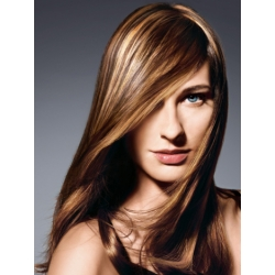 "Clip in 100% human hair streak 20"" (53cm) – light brown"