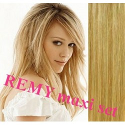 "Clip in maxi set 20"" (53cm) human hair - REMY 200g – light / natural blonde"