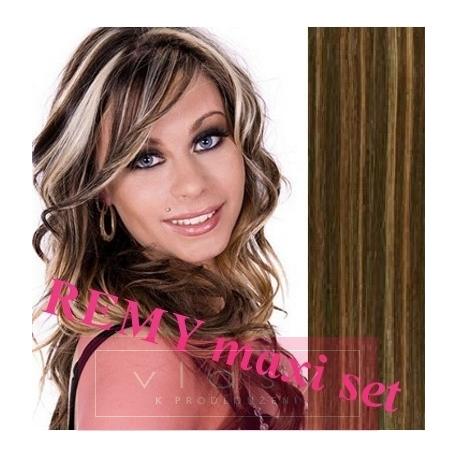 "Clip in maxi set 24"" (63cm) human hair - REMY 240g – dark brown / blonde"