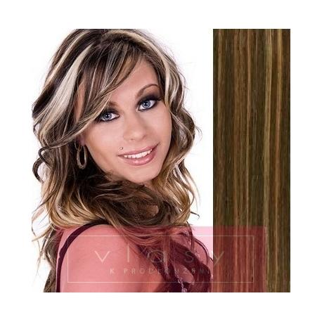 "Clip in hair extensions 20"" (53cm) 100% human hair – REMY 100g – dark brown / blonde"