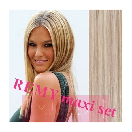 "Clip in maxi set 24"" (63cm) human hair - REMY 240g – platinum / light brown"
