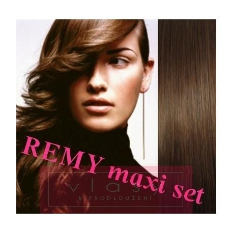 """Clip in maxi set 28"""" (73cm) human hair - REMY 280g – medium brown"""