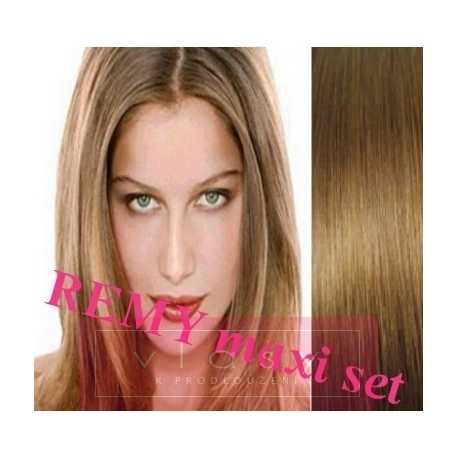 """Clip in maxi set 28"""" (73cm) human hair - REMY 280g – light brown"""