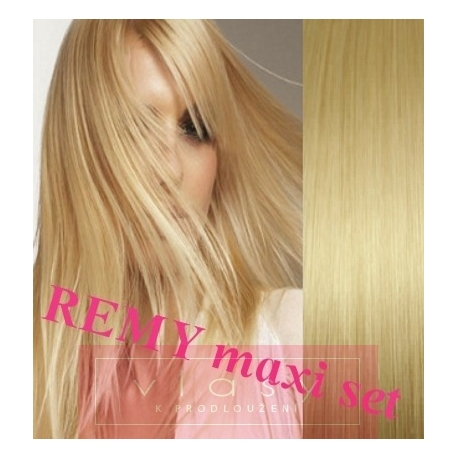 """Clip in maxi set 28"""" (73cm) human hair - REMY 280g – light blonde"""