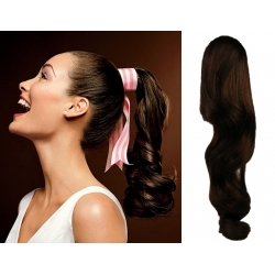 Clip in wrap ponytail 100% human hair extension 20 inch wavy – dark brown
