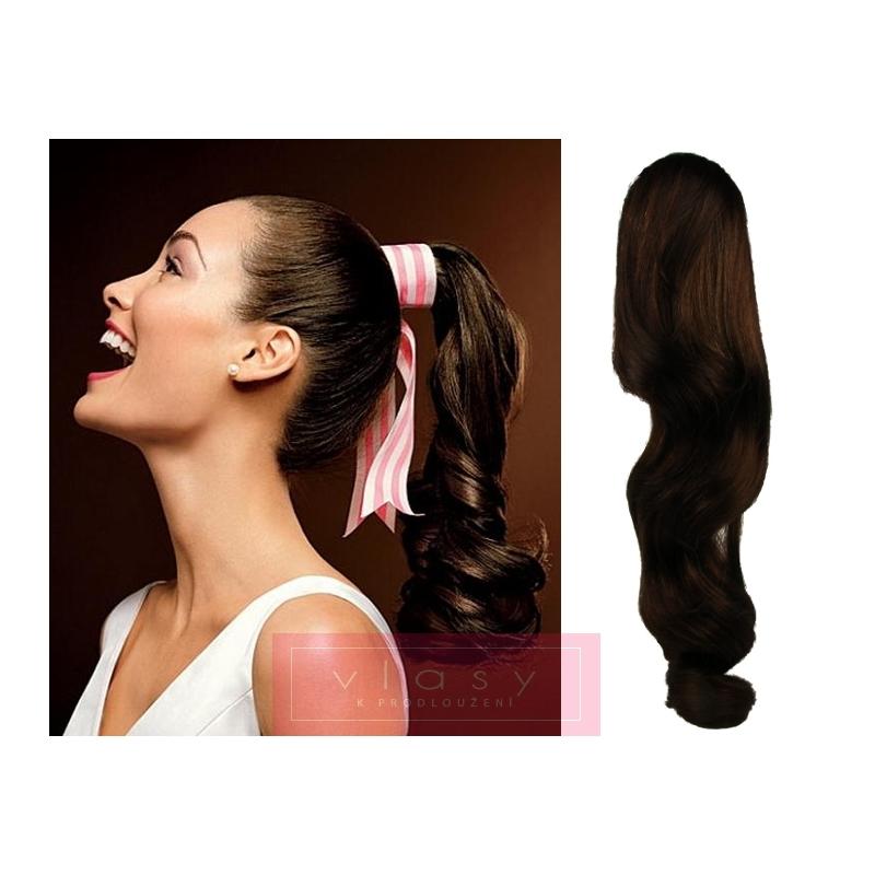Clip in příčesek culík cop 100% lidské vlasy 50cm vlnitý - tmavě hnědá ... d051065c86