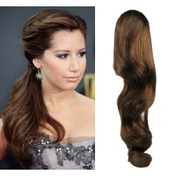 Clip in wrap ponytail 100% human hair extension 20 inch wavy – medium brown