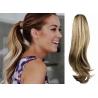 Clip in příčesek culík/cop 100% lidské vlasy 50cm vlnitý - světlý melír