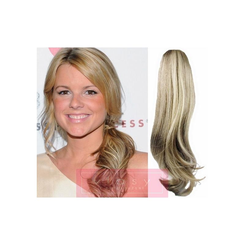 Clip in příčesek culík cop 100% lidské vlasy 50cm vlnitý - platina   světle  hnědá 7f238494cc